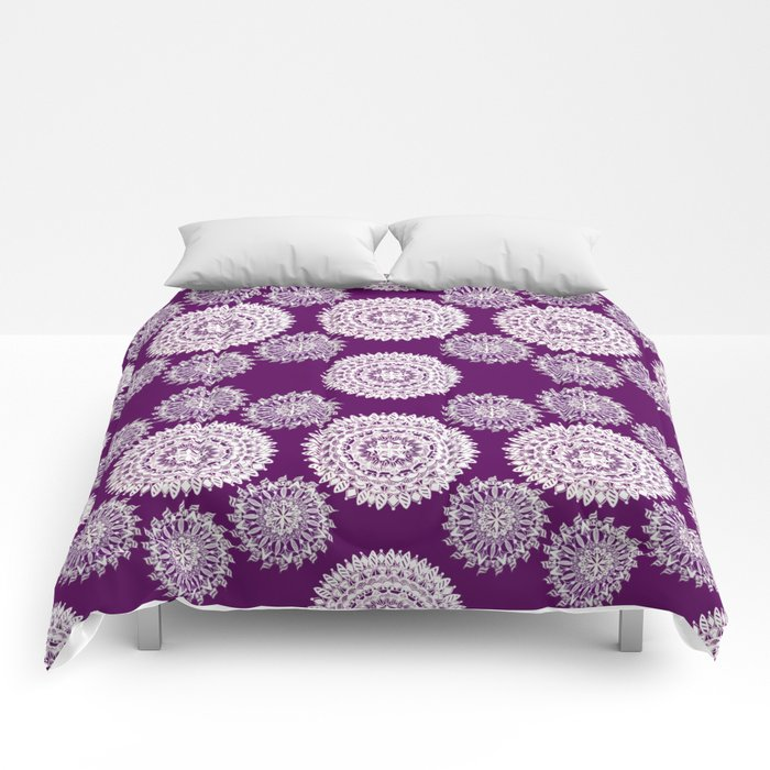 5fabeaa367 Deep Plum and Silver Patterned Mandalas Comforters by alexaleighcreations