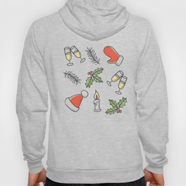 White Christmas Santa and Champagne Pattern Hoody