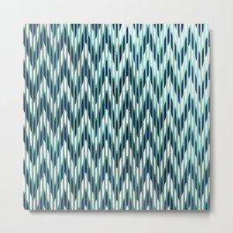 Chevron Striped, Aqua and Navy Metal Print
