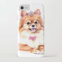 pomeranian iPhone & iPod Cases featuring Pomeranian Princess by 13 Styx