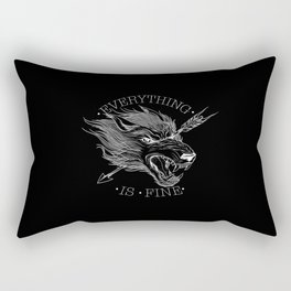 Everything Is Fine Black Rectangular Pillow