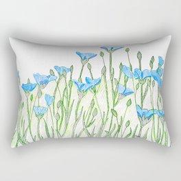 Flax flowers field Rectangular Pillow