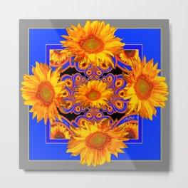 Golden Sunflowers Ornate Blue Patterns Metal Print