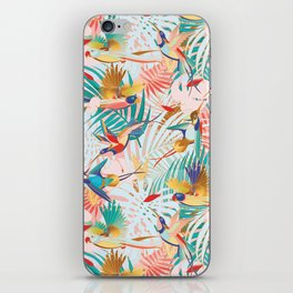 Colorful, Vibrant Paradise Birds and Leaves iPhone Skin