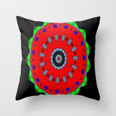 Lovely Healing Mandala  in Brilliant Colors: Black, Maroon, Green, Red, Royal Blue, and Gray Throw Pillow