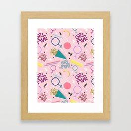 GRL PWR #society6 #pattern #grlpwr Framed Art Print