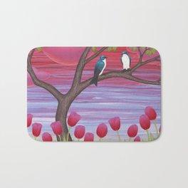 tree swallows & tulips at sunrise Bath Mat