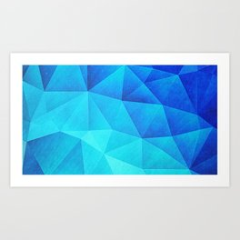 Abstract Polygon Multi Color Cubizm Painting in ice blue Kunstdrucke