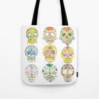 sugar skulls Tote Bags featuring Sugar Skulls  by Stephanie Eve