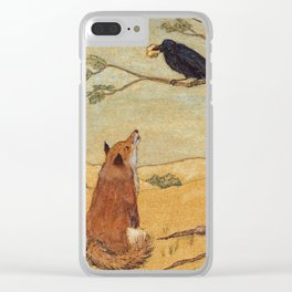 Fox and Crow, Aesop's Fable Illustration in the style of Arthur Rackham and Howard Pyle Clear iPhone Case