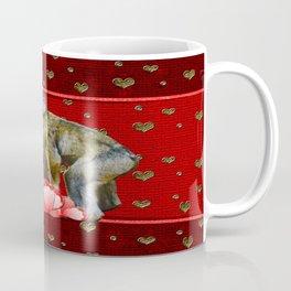 Kissing Chimpanzees Floating Hearts Coffee Mug