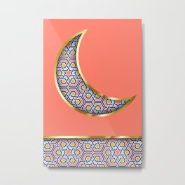 Patterned crescent on living coral pink Metal Print