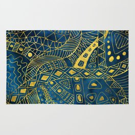 Tribal  Watercolor and Gold Pattern on blue Rug