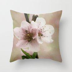 Pink Peach Blossoms Throw Pillow