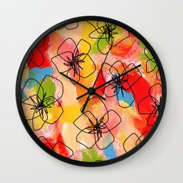 Hibiscus Family no.1 hibiscus illustration flower pattern floral painting nursery room decor Hawaii Wall Clock
