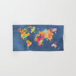 world map blue 2061 #map #worldmap Hand & Bath Towel