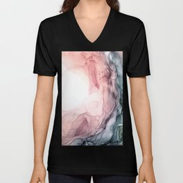 Blush and Blue Dream 1: Original painting Unisex V-Neck