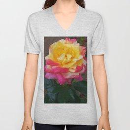 Floral Print 104 Unisex V-Neck