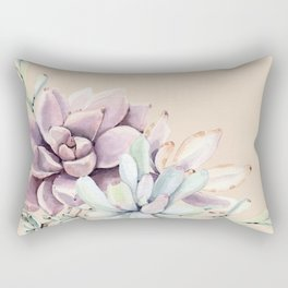 Trendy Apricot + Mint Succulents Rectangular Pillow