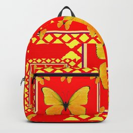 YELLOW BUTTERFLIES RED-YELLOW  PATTERNED  ART Backpack