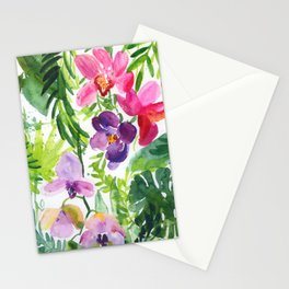 orchideas in jungle: watercolor pattern Stationery Cards
