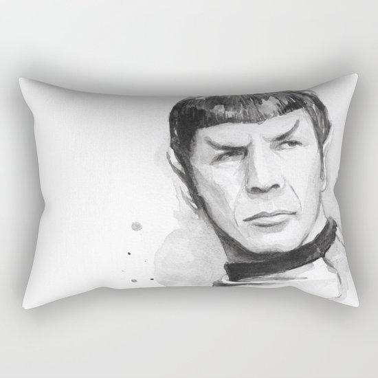Spock Portrait Watercolor Sci-fi Geek Art Rectangular Pillow