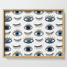 Evil Eyes Blue Yellow Lucky Charm Symbol Serving Tray