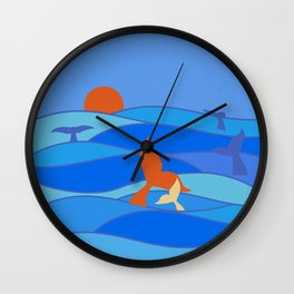 Whales Baby Whale and Mother Wall Clock