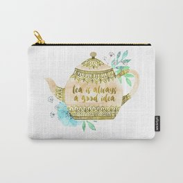 Watercolor Teapot Flowers Carry-All Pouch