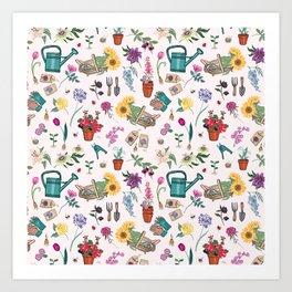 Grow Flowers Gardening Pattern Light Art Print
