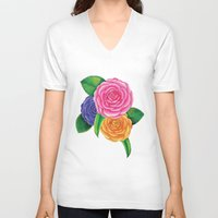 peonies V-neck T-shirts featuring Peonies by Shian Tan