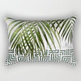Palm Leaves on White Marble and Tiles Rectangular Pillow
