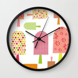 Ice Cream Lollipop Art Print Bedroom Kids Childrens Room Decor Interior Wall Printing Citrus Fruit M Wall Clock