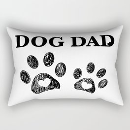 Paw print with hearts. Dog dad text. Happy Father's Day background Rectangular Pillow