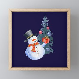 Cute Snowman Framed Mini Art Print