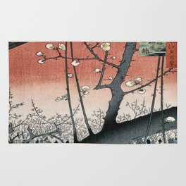 botanical ukiyo-e painting nature garden spring japanese plum flower Rug