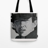 senna Tote Bags featuring Ayrton by Valeria Natale