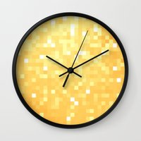 pixel art Wall Clocks featuring Golden pixeLs by 2sweet4words Designs
