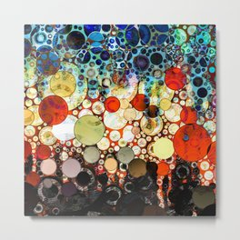 Contemporary Blue Orange Bubble Abstract Metal Print