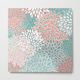 Floral Prints, Teal and Coral, Abstract Art Metal Print