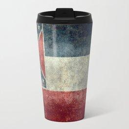 Mississippi State Flag in Distressed Grunge Travel Mug