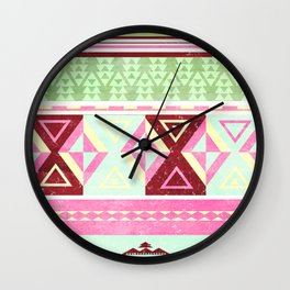 Neon Aztec Wall Clock