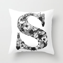 Illustrated Alphabet, letter S Throw Pillow