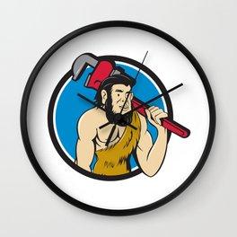 Neanderthal CaveMan Plumber Monkey Wrench Circle Cartoon Wall Clock