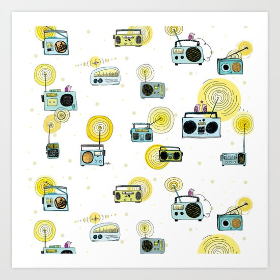 Listen Up! Radio Birds Art Print