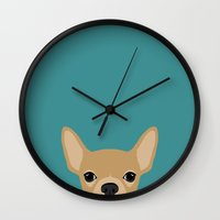 chihuahua Wall Clocks featuring Chihuahua by Anne Was Here