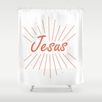 jesus Shower Curtains featuring Jesus by cooledition