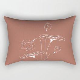 SEN Vietnam White Lotus Flower in the Tropical Sunset Hand Sketch Floral Design Rectangular Pillow