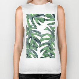 Tropical Palm Leaves Green on White Biker Tank