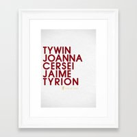 lannister Framed Art Prints featuring House Lannister 1 Typography series II by P3RF3KT
